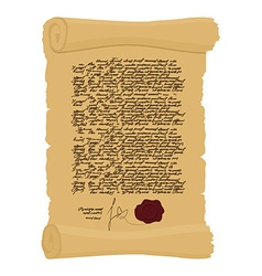 Ancient royal decree with print secret old yellow vector