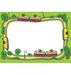 Frame design template with funny trams and rails vector