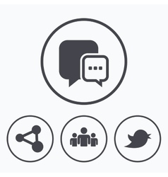 Social media icons chat speech bubble and bird vector