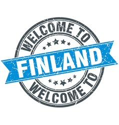 Welcome to finland blue round vintage stamp vector
