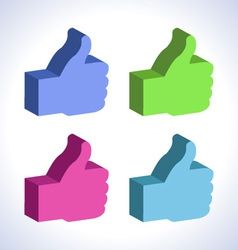 Set of 3d colorful thumb up vector