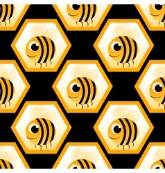 Seamless pattern with honeybee vector