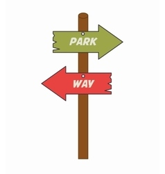 Arrows guides way park isolated icon vector