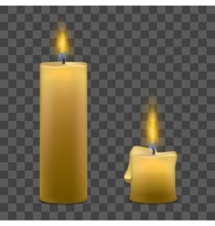 Candles with fire set on transparent background vector