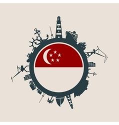 Cargo port relative silhouettes singapore flag vector