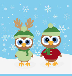 christmas background with owls vector image