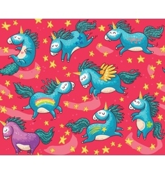 Cute seamless pattern with unicorns in the red vector