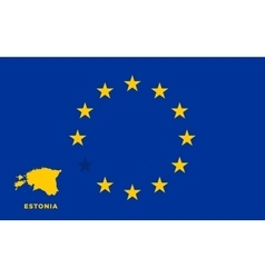 EU flag with Estonia country European Union vector image
