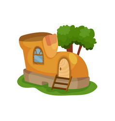 Fairy-tale house in form of yellow shoe with vector