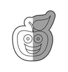 Figure red kawaii fruit apple happy icon vector