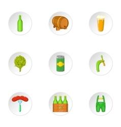 Folk festival of beer icons set cartoon style vector