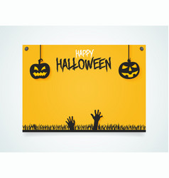 happy halloween poster pumpkins under the vector image
