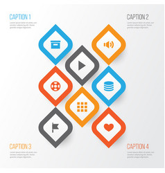 interface icons set collection of application db vector image vector image