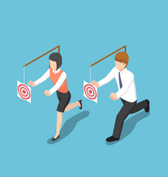 isometric business people try to catch target vector image