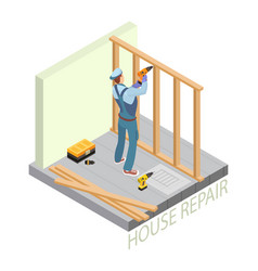 Isometric interior repairs concept builder with vector