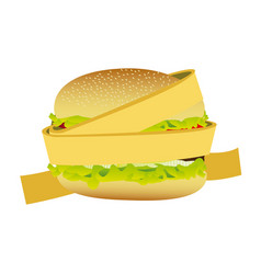 Measuring tape around burger diet food concept vector