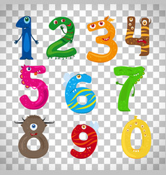 monster numbers on transparent background vector image vector image