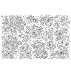 Photo doodles hand drawn sketchy symbols vector image