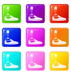 Prosthetic leg icons 9 set vector