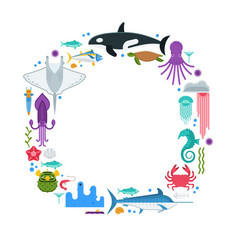 sea life border frame vector image