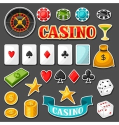 Set of casino gambling game sticker objects and vector image