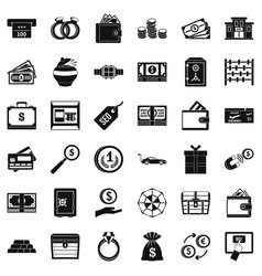 Sum icons set simple style vector