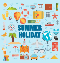 Summer holiday flat icons with lettering vector
