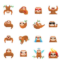Tree sloth doodle collection vector