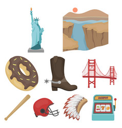 usa country set icons in cartoon style big vector image vector image