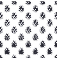 Vintage hand drawn pine cone pattern design vector