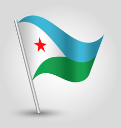 Waving simple triangle djiboutian flag vector
