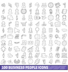 100 business people icons set outline style vector