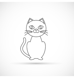 Black cat outline icon vector image