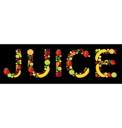 Fresh fruits juice word vector