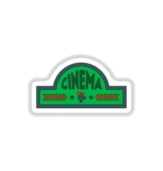In paper sticker style cinema vector