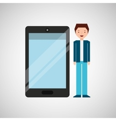 Character man young with smartphone shiny layer vector