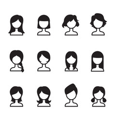 Woman hair style icons symbol i set vector