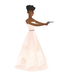 Bride in a white wedding dress holding a handgun vector