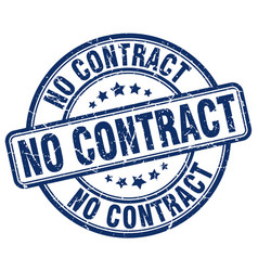 No contract blue grunge round vintage rubber stamp vector