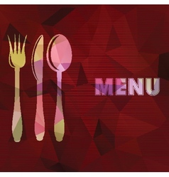Spoon fork and knife on abstract triangular vector