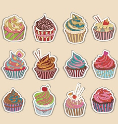 Cupcake colorful icon vector
