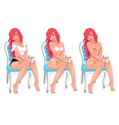 Beautiful woman in three versions dressed and vector