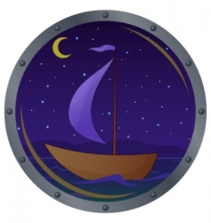 Ship floats at night vector