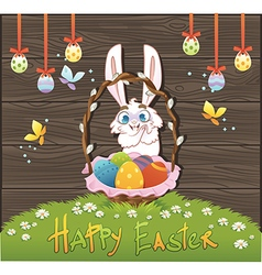 Happy easter with eggs and rabbit over wood backgr vector