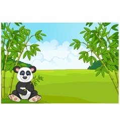 Cartoon cute panda in the bamboo forest vector