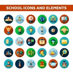 Set of school college flat design icons and vector
