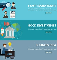 Business banner horizontal set with investments vector