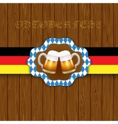 Oktouberfest background two mugs of beer on a vector