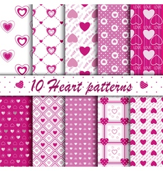 10 pink heart shape seamless patterns collection vector