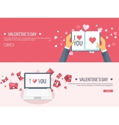 Flat background with laptop vector image